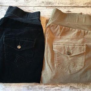 Bundle (2) Maternity Black Khaki Corduroy Pants